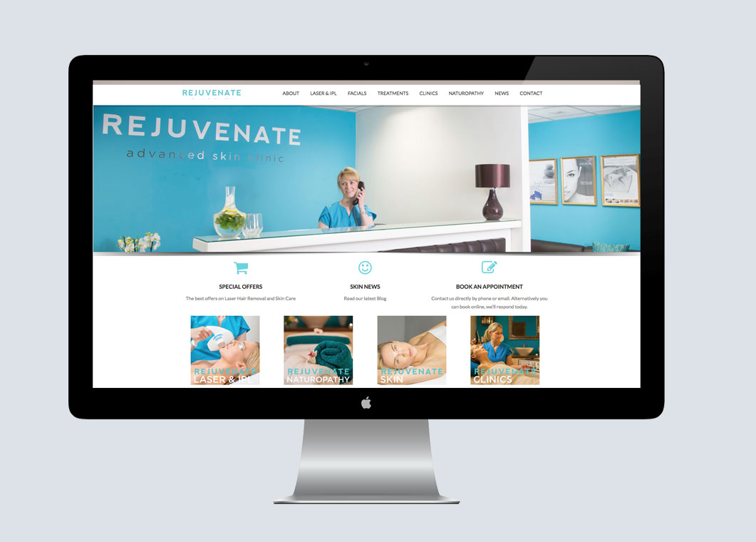 Rejuvenate skin clinic website design by medusa